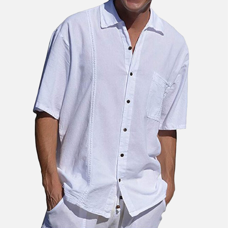 Men Solid Color Single Pocket Linen Revere Shirts - Slabiti