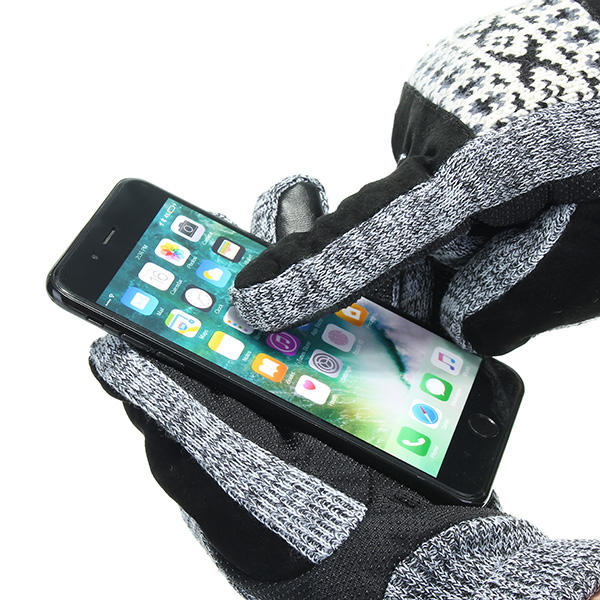 Thickening Warm Leather Gloves Touch Screen For Motorcycle Cycling Skiing Skateboard Men - Slabiti