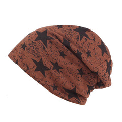 Men Star Printing Cotton Knitted Beanie Hat Casual Hip-hop Slouch Skullies Cap - Slabiti