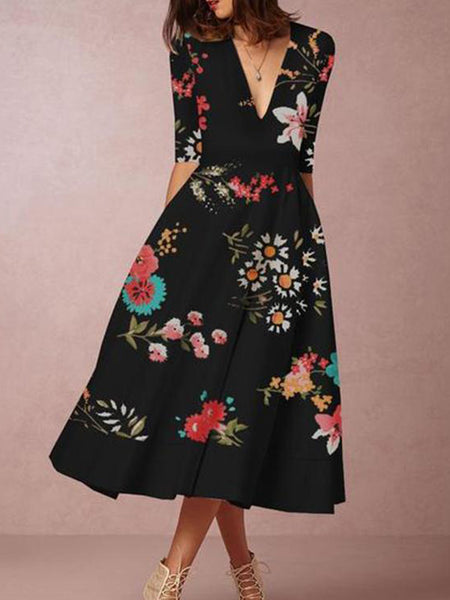 Chic Print V-neck Half Sleeve Dress