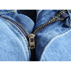 Men Thin Light Blue Hip-Hop Holes Slim Fit Jeans Knee Length Jean Denim Short - Slabiti