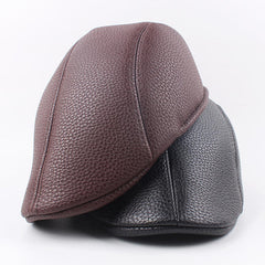 Unisex Men Women Gatsby Newsboy Hunting Hat PU Leather Painter Berets Caps Cabbie Hat - Slabiti