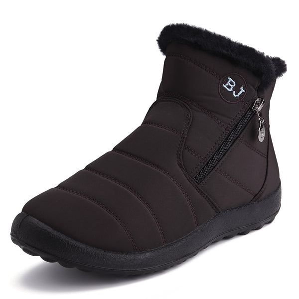 Women Casual Keep Warm Zipper Ankle Snow Boots - Slabiti