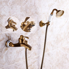 Antique Brass Shower Head Bathroom Tub Faucet Hand Held Tap Spray Waterfall Set - Slabiti