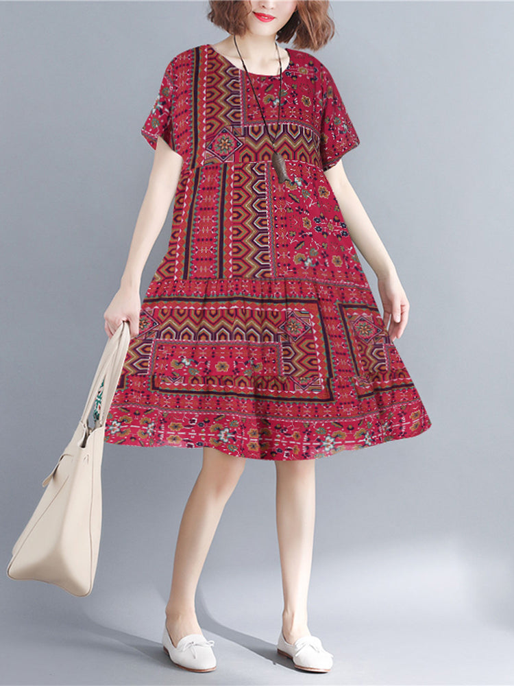 Women Bohemian Casual Loose Short Sleeve O-Neck Dress