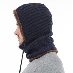Men Thick Knitted Warm Beanie Cap With Earmuffs Hooded Scarf Hooded Neck Cap - Slabiti