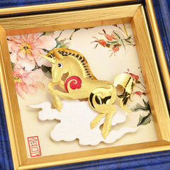 3D Chinese Zodiac Horse Painting 24k Gold foil pictures Horse Year Wall Art Pictures Desktop Ornaments Crafts Home decor Gifts - Slabiti