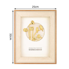 3D Gold Lotus Pictures 24K Gold foil painting Modern art Wall pictures For Living room Desktop Ornament Crafts Home decoration - Slabiti