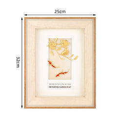 3D Golden Magnolia pictures poster 24K Gold Foil Painting Gold Fish Wall art pictures Framed painting Crafts Home decor Gifts - Slabiti