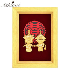 3D Hand-made Crafts Wall pictures 24k Gold Foil painting Gold Framed Pictures Wedding decor Valentine's Day gifts Home Decor - Slabiti