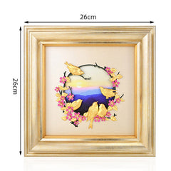 3D Hand made Framed Painting Lovely birds Wedding decor 24k Gold foil Painting Modern Art Wall Framed Pictures Home decoration - Slabiti