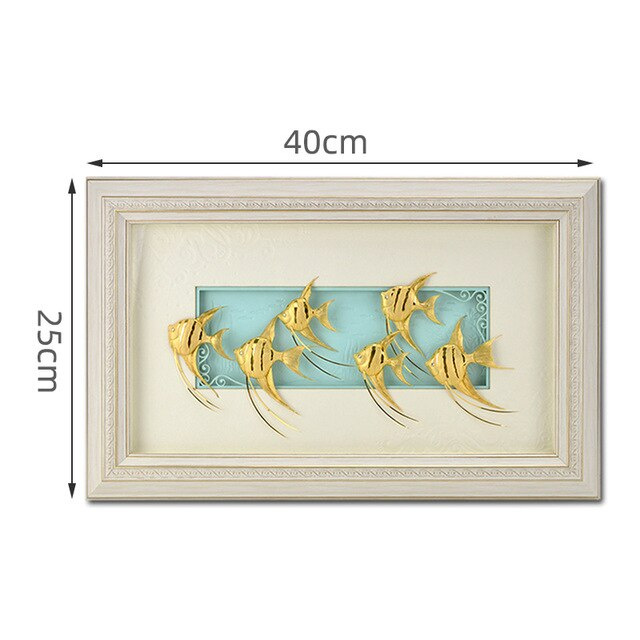 3D Immortal Fish Framed pictures 24k Gold foil Painting Wall art pictures   Wall Pictures For Living Room Art Crafts Home Decor - Slabiti