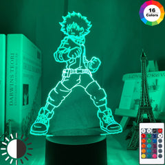 3D Lamp Izuku Midoriya Figure Kids Bedroom Nightlight Led Touch Sensor Room Lighting Anime My Hero Academia Gift Led Night Light - Slabiti