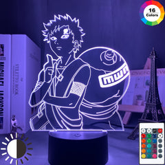 3D Lamp NARUTO Gaara Figure Children's Night light LED Anime Japanese Manga Battery Lamp Room Decor Baby Sleep Nightlight Gift - Slabiti