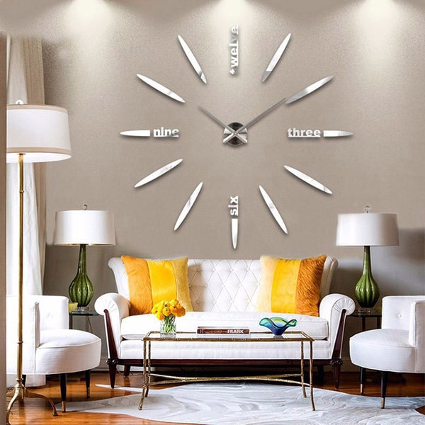 3D Quartz Wall Clock Modern Design Acrylic Wall Clocks Mirror Wall Sticker Large Decoration Clock For Home Living Room - Slabiti
