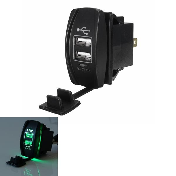 12V~24V Green LED Backlit Car Boat Dual USB Charger 5V 3.1A Output Rocker Switch - Slabiti