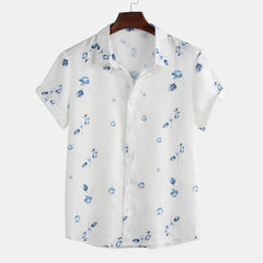 Mens Floral Printing Summer Casual Loose Shirts - Slabiti