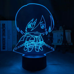 3d Illusion Lamp Attack on Titan Nightlight for Bedroom Decor Colorful Battery Powered Mikasa Ackerman Figure LED Night Light - Slabiti