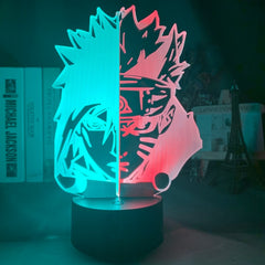 3d Illusion Led Night Light Half Face Naruto Uzumaki and Sasuke Uchiha for Bedroom Decor Light Cool Anime Gift 3d Lamp Hit Color - Slabiti