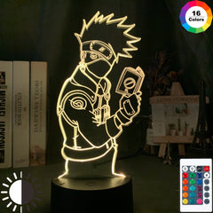 3d Illusion Led Night Light Kakashi Hatake Holding Book Nightlight Gift for Kids Boys Children's Bedroom Decor Table Lamp Naruto - Slabiti