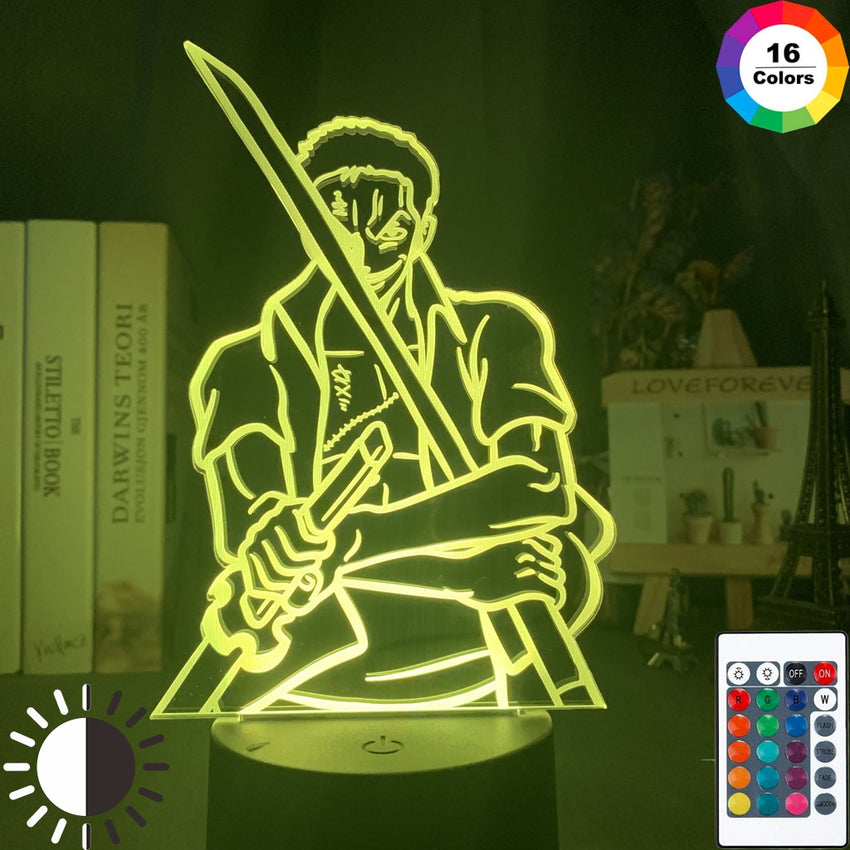 3d Lamp Anime One Piece Roronoa Zoro with Swords Figure Nightlight for Home Decoration Cool Birthday Gift for Child Table Lamp - Slabiti
