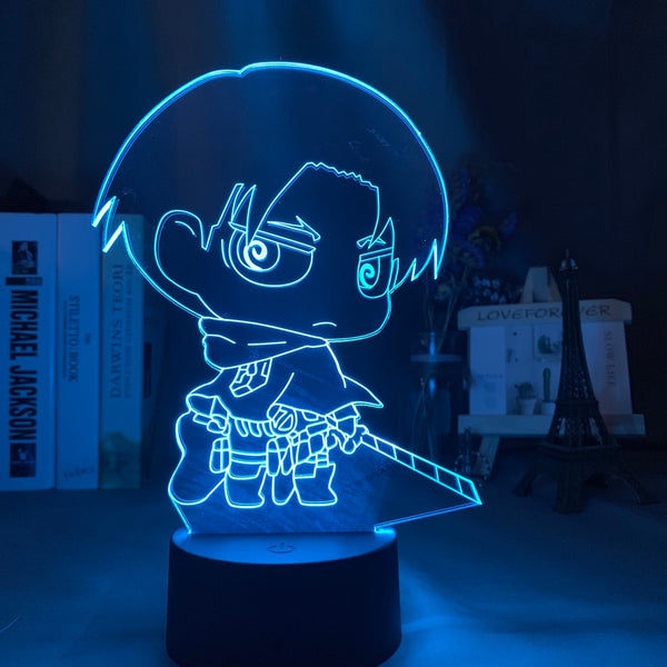 3d Night Light Attack on Titan Levi Ackerman Chibi Figure Nightlight for Home Decoration Light Colorful Battery Night Lamp Gift - Slabiti