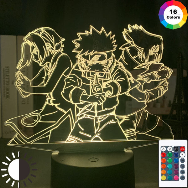 3d Night Light Naruto Team 7 Uzumaki Naruto Sasuke Sakura Figure Home Decoration LED Night Lamp Anime Gift for Kids Child Boys - Slabiti