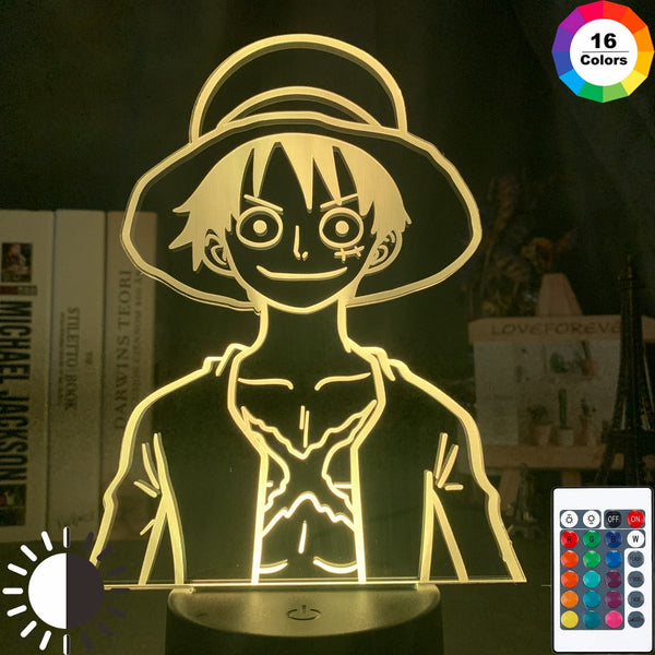 3d Night Light One Piece Monkey D Luffy Led Color Changing Usb Battery Powered Night Lamp Bedroom Decor Nightlight for Kids - Slabiti