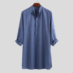 Mens Vintage Stand Collar Long Sleeve Mid Long Casual Shirts - Slabiti