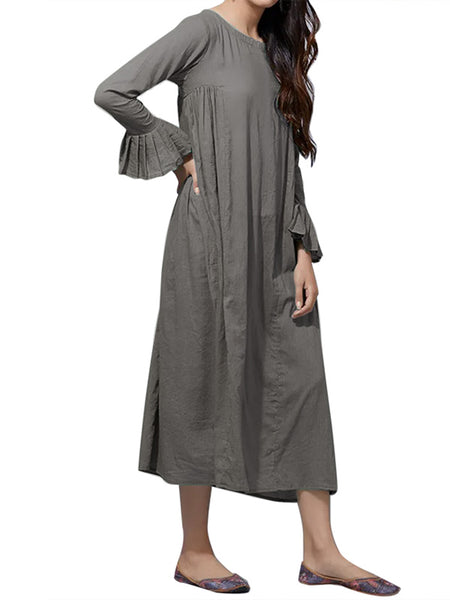 Women Casual Pleated Solid Color Long Sleeve Dress
