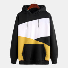 Mens Patchwork Color Insert Pocket Casual Long Sleeve Hooded Sweatshirt - Slabiti