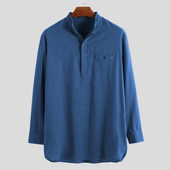 Mens Vintage Stand Collar Pocket Long Sleeve Casual T-Shirts - Slabiti
