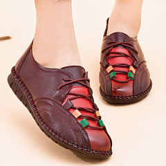 Comfortable Leather Lace Up Loafers For Women - Slabiti