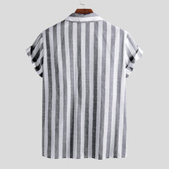 Mens Summer Short Sleeve Striped Shirts - Slabiti