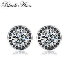 3g Stud Earrings for Women Genuine 925 Sterling Silver Jewelry Black&White Stone Boucle D'oreille Wedding Brincos T148 - Slabiti