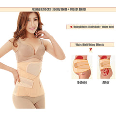3in1 Belly/Abdomen/Pelvis Postpartum Belt Body Recovery Shapewear Belly Slim Waist Cinchers Breathable Waist Trainer Corset - Slabiti