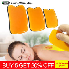 3pcs Natural Gold Jade Guasha Board Massage Tool SPA Acupuncture Scraper Stone Facial Anti-wrinkle Treatment Body Health Care - Slabiti