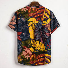 Mens Summer Leaf Printed Stand Collar Half Buttons Casual Shirts - Slabiti