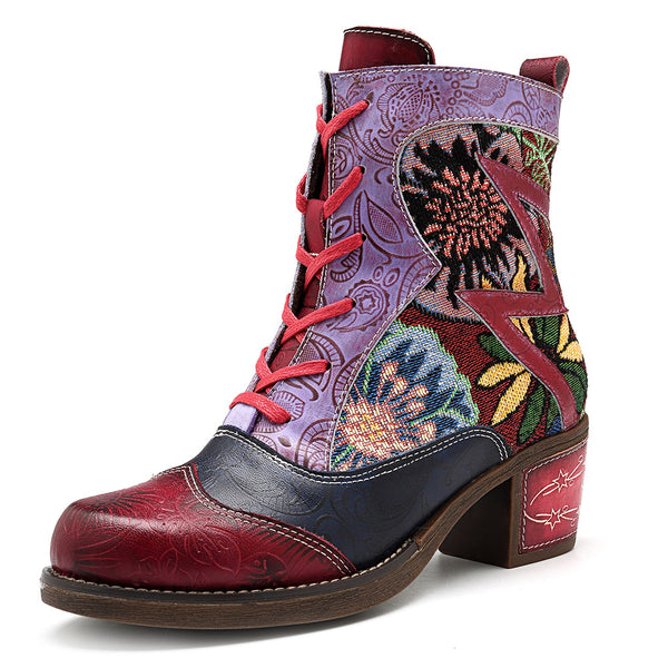 SOCOFY Splicing Pattern Ankle Leather Boots