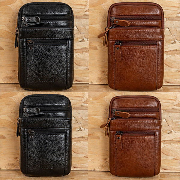 Genuine Leather Waist Bag Multi-pocket Belt Bag Phone Bag Shoulder Bag For Men - Slabiti