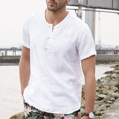 Men Solid Color Chinese Buckle Casual T-Shirts - Slabiti