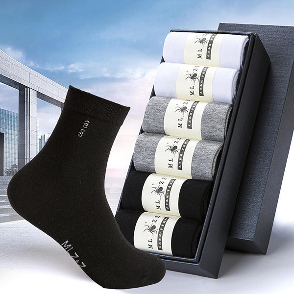 6 Pair Men Cotton Solid Business Long Tube Socks Casual Antibacterial Breathable Socks - Slabiti