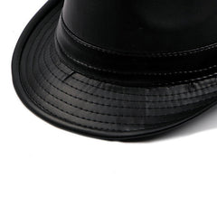 Men Vintage Artificial Leather Bucket Hats British Style Curved Brim Jazz Cap - Slabiti