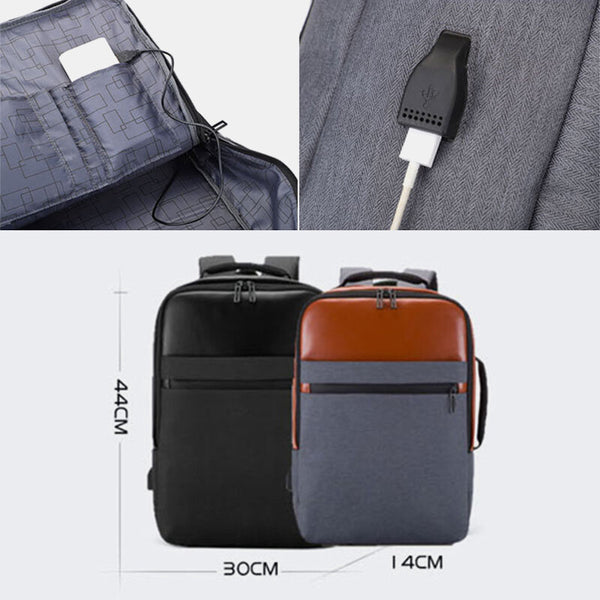 Waterproof Large Capacity Backpack Travel Bag Business Bag With USB Charging Port For Men - Slabiti