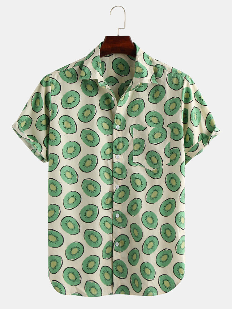 Mens Summer Avocado Printed Breathable Loose Comfy Casual Shirts - Slabiti