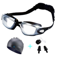 Men Women Swimming Goggles With Hat Ear Plug Waterproof Swim Glasses Anti Fog Eyewear Suit - Slabiti