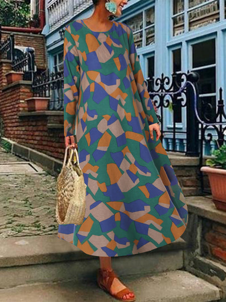 Casual Women Cotton Loose Geometric Print Long Sleeve Dress