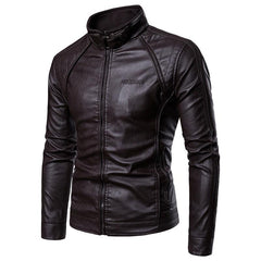 Mens Casual Stand Collar Long Sleeve Thick Warm Solid Color Leather Jacket - Slabiti