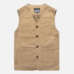Mens Plus Size Outdoor Mesh Breathable Pockets Cotton Vest Sleeveless Jacket - Slabiti