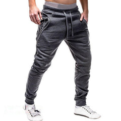 Casual Elastic Waist Double Zipper Pocket Drawstring Sport Pants - Slabiti